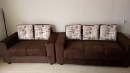 Sofá 2 e 3 lugares com almofadas soltas