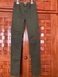 calça verde militar zara