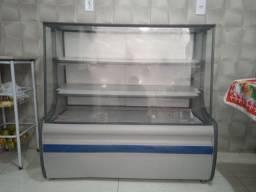 Balcão (vitrine) quente e refrigerada de lanchonete.
