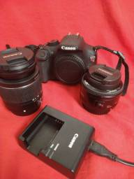 Combo completo corpo Canon T5 + lente 50mm, + 18-55mm + carregador e cartão de memória.