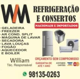 Título do anúncio: Concertos de geladeira, máquina de lavar, freezer e ar condicionado.