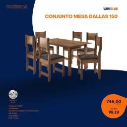 Título do anúncio: Conjunto Mesa Dallas 150, com 6 Cadeiras (Frete Grátis)