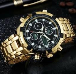 fc662b79535 Relógio Masculino Amuda 2002 Luxo Dourado Prata