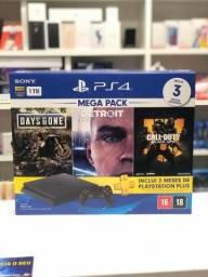 PS4 Slim 1tb com 1 controle e 3 Jogos + 1 ano de garantia