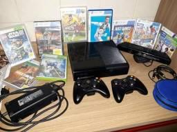 Xbox 360 + 2 controles + Kinect + jogos