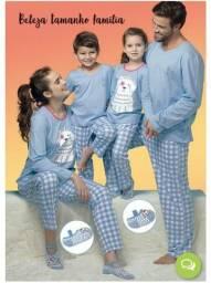 Pijamas Calças Manga Longa Pais e Filhos Conjunto Família