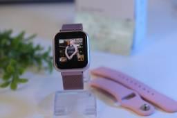 Smartwatch P70 Plus Rosê Duas Pulseiras Resistente a Água Modo Esporte