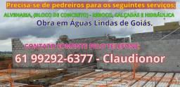 Pedreiro Bloqueiro Obra em Águas Lindas - GO - * (Empreiteiro)