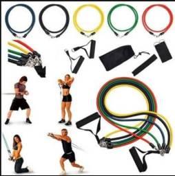 Kit elásticos de exercícios 11 peças pilates e extensor