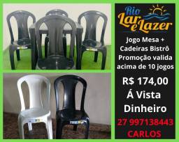 Mesa e Cadeira Plástica Bistrô - Jogo Completo -