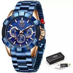 Novo lige relógios de aço inoxidável dos homens esportes à prova dwaterproof água