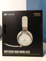 Headset CORSAIR VIRTUOSO RGB WIRELESS (PEARL) - LACRADO!