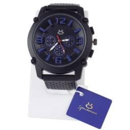 Relógio Analógico Masculino Premium Pulseira em Silicone Rsb11 Preto / Azul