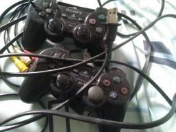 PS2 2 controles cabo Av cabo de conexão a tomada
