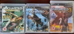 Jogos Uncharted 1, 2 e 3 (3 Jogos/3 CDs) - Toda Trilogia para PS3