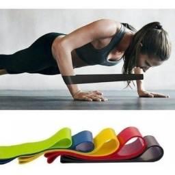 Kit 5 Faixas Elásticas para Exercicios e Fisioterapia em casa