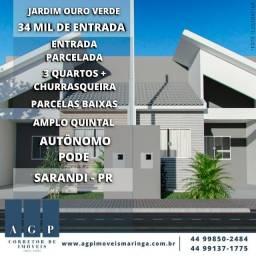 Casa 3 quartos - Jd. Ouro Verde Sarandi
