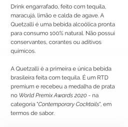 Bebida Quetzalli 270 ml a primeira bebida com tequila do Brasil .