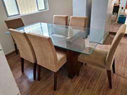 Mesa Jantar Vidro Madeira + 6 Cadeiras