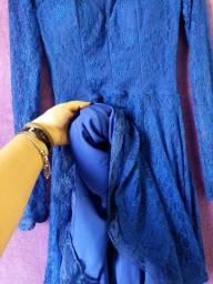 Título do anúncio: Vestido manga comprida azul de renda - usado