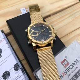 Relógio Luxo Naviforce Linha Ouro Original