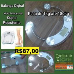 Balança Digital Pesa Até 180kg de Vidro Temperado Para Banheiro Quadrada ou Redonda