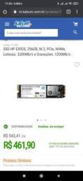SSD 256GB, m.2 nvme HP, modelo EX920 - O TOP de linha