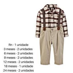 Conjunto suspensório social e calça jeans carters bebê