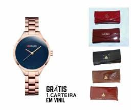 Relógio CURREN Original Grátis Carteira Feminina