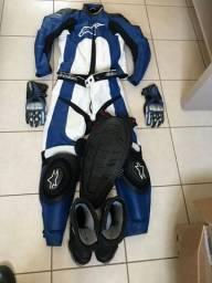Macacão bota e luvas moto motocross trilha moto gp Alpinestars em couro original!!!