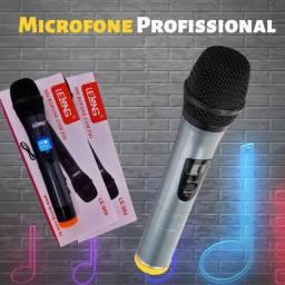 Microfone Sem Fio Dinâmico UHF Profissional LE-909 - Lelong