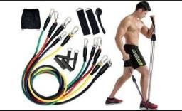 Título do anúncio: Kit elástico de exercícios 11 peças pilates e extensor
