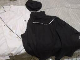 Bandana, dólmã com botão de pressão, calça e avental completo novo