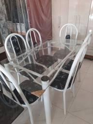 Mesa 6 cadeiras Vidro Nova