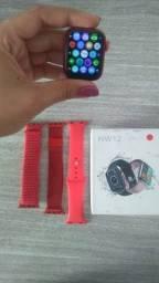 Smartwatch HW12 vermelho + 2 pulseiras extra