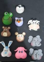 Carinhas de bichos em biscuit