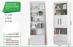 estante livreiro com duas gavetas e portas zap  *