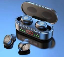 Fone de Ouvido TWS Pequeno sem Fio com Bluetooth 5.0 HiFi Bass Estéreo Mostrador LED