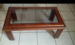 Mesinha de centro madeira com vidro