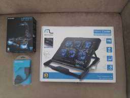 Suporte de notebook (HEXA COOLER), BUNGEE E HUD (WARRIORS), HUD USB 2.0. Multilaser