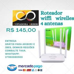 Roteador Wiffi Wirelles Pix-Link 4 antenas Branco