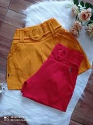 Shorts bengaline com cinto e shorts saia bengaline