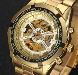 d4585a716d0 Relógio Masculino De Luxo Dourado e Prata Automático Aço Inox