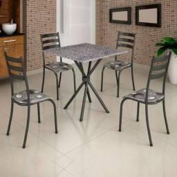 Conjunto De Mesa Ipanema Tampo Granito Com 4 Cadeiras
