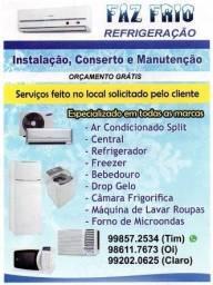 Ar condicionado, instalação, conserto e manutençõe