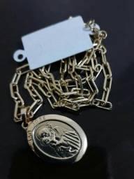 Cordão feminino, banhado a ouro, 45 cm
