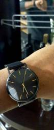 Relógio Pluoyo ultrafino, aço inoxidável, quartzo