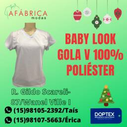 Baby Look Branca Gola V Para Sublimação/Sublimar/Estampar/Silk/Bordado/Uniforme