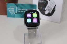 Smartwatch P8 Prata Pro Pulseira de Metal Prata 20mm Faz e Recebe Chamadas Cartão Entrego