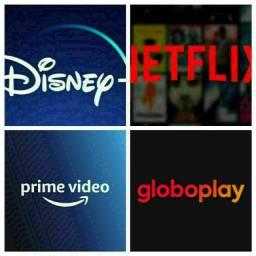 Netflix ,globo plais com canais ao vivo e etc
